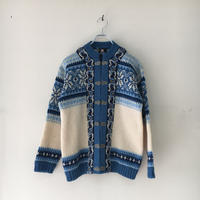 USED● FJORD FASHION Size40 Wool Nordic Cardigan Blue Natural ウール ノルディック カーディガン ブルー