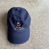 USED● 2000s Disney Mickey Cotton Cap Navy Free Size キャップ 帽子