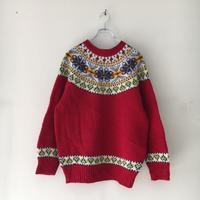 USED● SUSAN BRISTOL Nordic Wool Sweater Red ノルディック ウール セーター ニット レッド