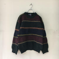 USED● EAST QUAT made in england Size L Wool Nordic Sweater ウール ノルディック セーター ボーダー Old