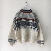 USED● Old Wool Nordic Sweater Off White Gray オールド 肉厚 ウール ノルディックセーター