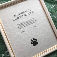ペットウエディング結婚証明書♡特大長方形額縁入り♡人生を楽しむシリーズ