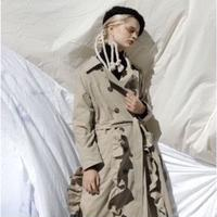 frill stiching trench coat