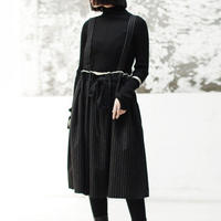 edge cut wool striped skirt
