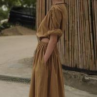 deep style waist hole iong dress
