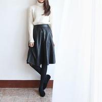 mi-mollet leather skirt