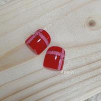 【サイズ選択可】 ペタっと貼るだけで本格的★ペディチップ チェック柄 人気の赤!