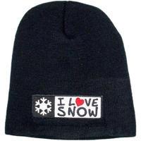 「I LOVE SNOW」ニットキャップ (ブラック/フリーサイズ)
