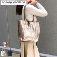 andrea cardone 2065 [アンドレアカルドネ] トートバッグ Mサイズ メタリック レザー レディース [イタリア製]