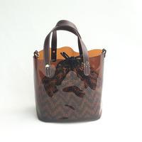 【Ämont Petit アモンプティ】85123 BR クリアトート ブラウン クリア素材 インナー巾着袋付き 2WAYバッグ