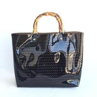 【Ämont Petit アモンプティ】85102 BK クリアトート ブラック クリア素材 インナーポーチ付き バンブーハンドルバッグ