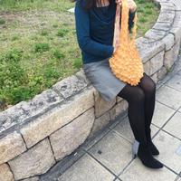 【京shibori bag byÄmont】唄しぼり 和柄×金魚 からし