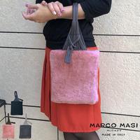 MARCO MASI 3038 マルコマージ ファーバッグ ファー ハンドバッグ ブランド バッグ 手提げ 小ぶり レザー 本革 イタリア製 ピンク グレー ブラック 黒