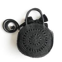 【Ämont Petit アモンプティ】85053 BK リボン付き丸型ハンドバッグ ブラック ストロー風 ペーパー素材
