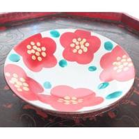 九谷焼、椿文六寸浅鉢、赤地 径、金沢