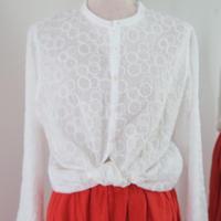 リズムドット スタンドシャツ(ホワイト)、grin 日本製
