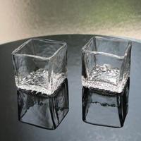 吹きガラス キューブ型角小鉢、河上智美(茨城)