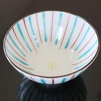 九谷焼、十草文飯茶碗、赤地径(金沢)  赤地陶房