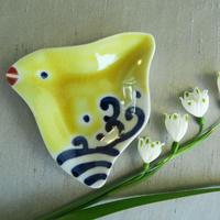 九谷焼豆皿  千鳥(黄色) 、赤地 径