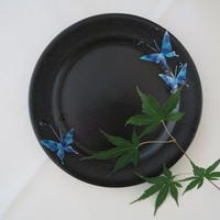 青九谷(蝶紋) ケーキ皿、川崎知美(金沢)、海外発送不可