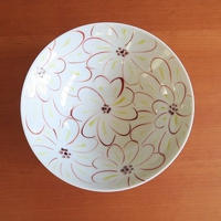 九谷焼、菊文六寸鉢、赤地径(金沢)