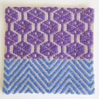南部菱刺しコースター(一点もの)、紫×青、倉茂洋美
