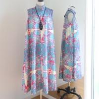 オリジナルワンピース Bi's Closet スタンドカラ― ブルーグリーン