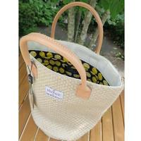 イタリアンヴィンテージの麻地バッグ(内柄:レモン柄)、日本製