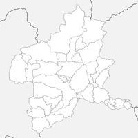 無料●群馬県 白地図 市区町村別 フリー素材