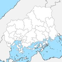 無料●広島県 白地図 市区町村別 フリー素材