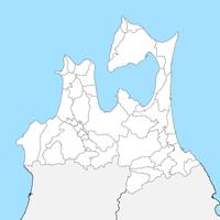 無料● 青森県 白地図 市区町村別 フリー素材