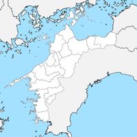 無料●愛媛県 白地図 市区町村別 フリー素材