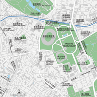 東京 神宮外苑 ベクター地図データ(eps) 日本語/英語 並記版