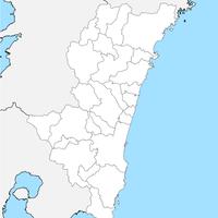 無料●宮崎県 白地図 市区町村別 フリー素材