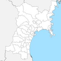 無料● 宮城県 白地図 市区町村別 フリー素材