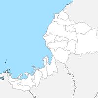無料●福井県 白地図 市区町村別 フリー素材