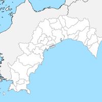 無料●高知県 白地図 市区町村別 フリー素材