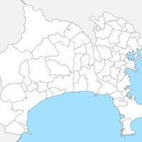 無料●神奈川県 白地図 市区町村別 フリー素材