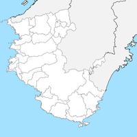 無料●和歌山県 白地図 市区町村別 フリー素材