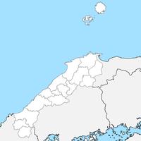 無料●島根県 白地図 市区町村別 フリー素材