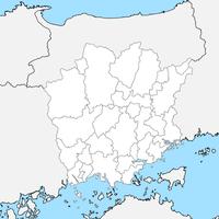 無料●岡山県 白地図 市区町村別 フリー素材