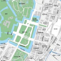 東京 丸の内・皇居 ベクター地図データ(eps) 日本語