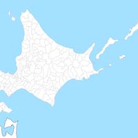 無料● 北海道 白地図 市区町村別 フリー素材
