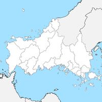 無料●山口県 白地図 市区町村別 フリー素材