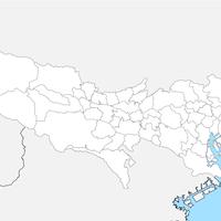 無料● 東京都 白地図 市区町村別 フリー素材