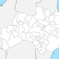 無料●福島県 白地図 市区町村別 フリー素材