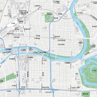 大阪 梅田・大阪城 ベクター地図データ(eps) 日本語