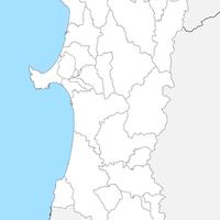 無料●秋田県 白地図 市区町村別 フリー素材