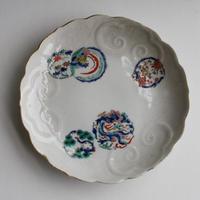 p-84 大聖寺伊万里 DAISHOHJI-IMARI 色絵 環状文 輪花皿