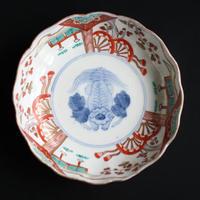 p-88 古伊万里  KOIMARI  染錦 獅子文   深皿